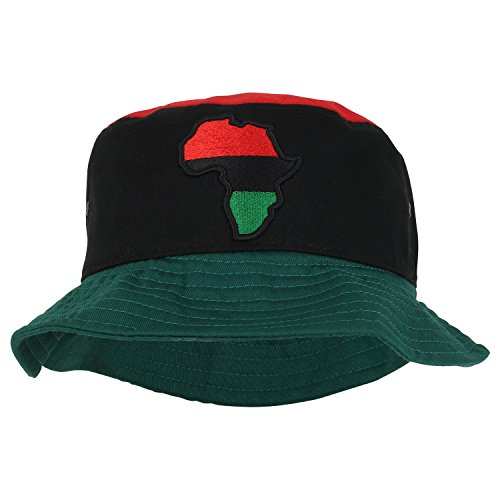 Trendy Apparel Shop Red Black Green Africa Map Patch Embroidered Cotton Bucket Hat - RBG - LXL