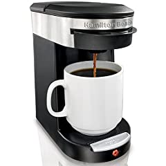 Enjoy fresh, fast coffee with the Hamilton Beach Personal Cup Pod Brewer. This single-serve coffee machine can brew any flavor disk-shaped coffee pod you want, including tea, and also works with your preferred ground coffee.