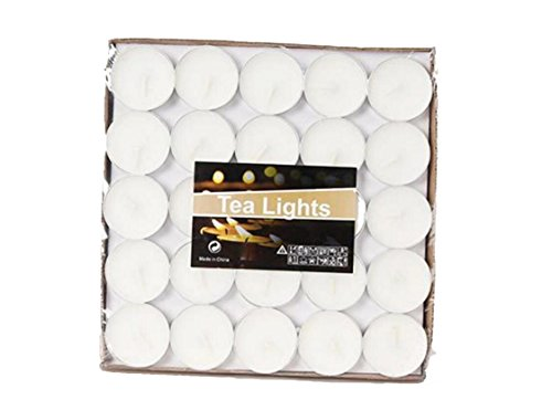 Yoyolala White Tealight Candles, Quality Unscented Candle Set of 50 Pieces of Red Color (White)