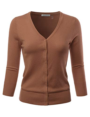 EIMIN Women's 3/4 Sleeve V-Neck Button Down Stretch Knit Cardigan Sweater Camel - Cardigan Camel