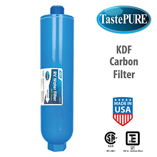 Camco 40042 TastePURE Inline Water Filter, Greatly Reduces Bad Taste, Odors, Chlorine and Sediment in Drinking Water (Pack of 4)