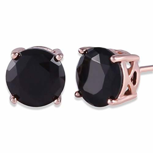 GULICX Rose Gold Tone Unique Chic 7mm Round Black Stud Earrings