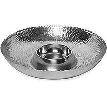 KINDWER Hammered Aluminum Chip and Dip Bowl, Snack & Appetizer Server, 16-Inch, Silver