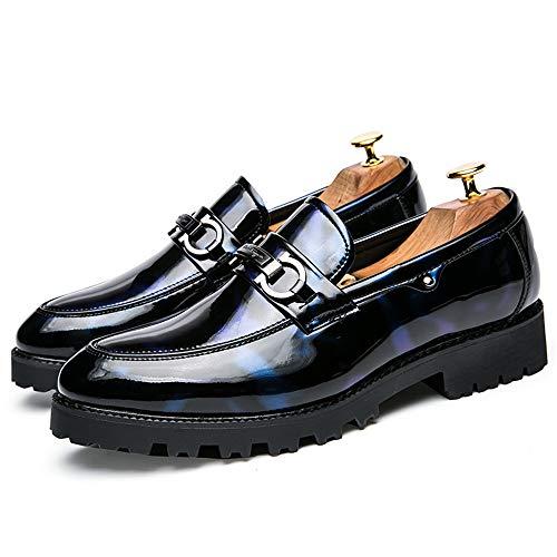 Informal Formal 41 Shoes Negocios Cómodo De Soft Eu Oxford color Azul Hombre Azul Tamaño Button Slip Metal Charol Leather zapatos 7wTPAtWq