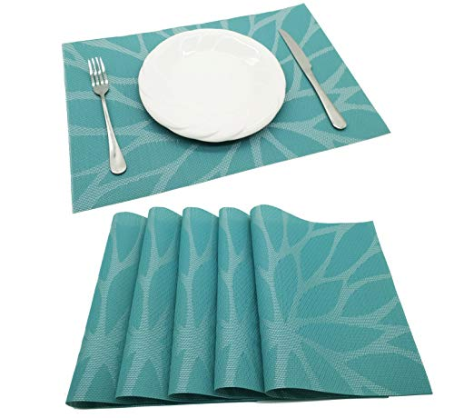 (Tennove Placemats Set of 6, Woven Vinyl Table Mats PVC Placemats for Kitchen Dining Table Decoration (Flower-A))