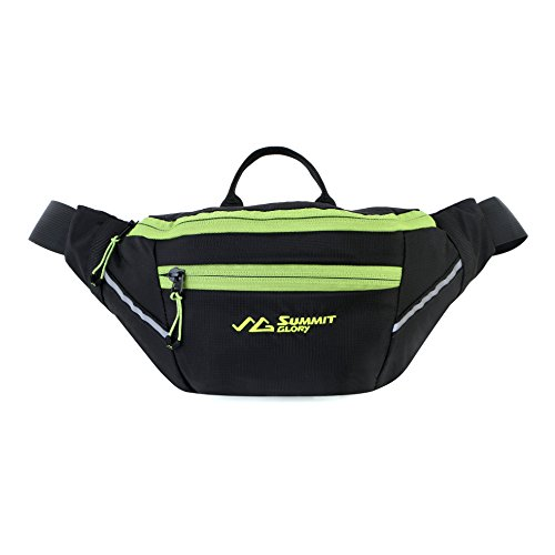 Summit Glory Fanny Pack Waterproof Waist Bag Waist Pack With Refective Stripe Black