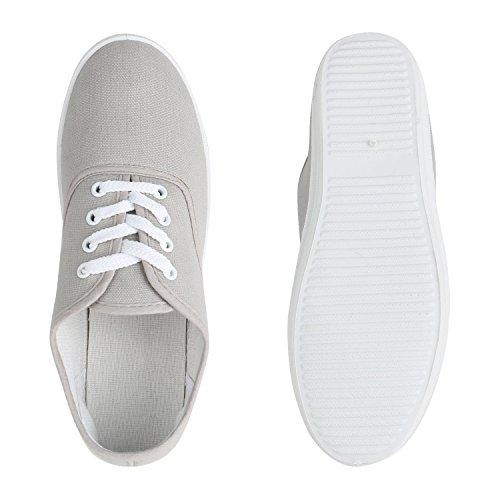 Stiefelparadies Damen Sneaker Low Bequeme Stoffschuhe Freizeit Schuhe Schnürer Flandell Grau