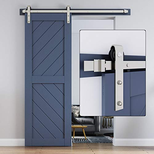 EaseLife 5 FT Heavy Duty Brushed Nickle Sliding Barn Door Hardware Track Kit,Modern,Sturdy,Slide Smoothly Quietly,Easy Install,Fit 26″~30″ Wide Door (5FT Track Single Door Kit)