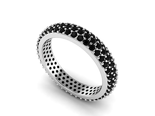 Gemstone Black Spinel 925 Sterling Silver Women Wedding Ring Stackable Eternity Band