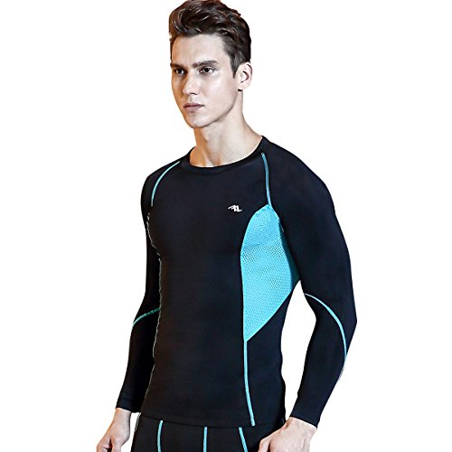 TRYSIL Men's Compression Shirt Long Sleeve Tights Running Shirt Quick Dry Sportswear T Shirts Elastic Baselayer, Black/Blue