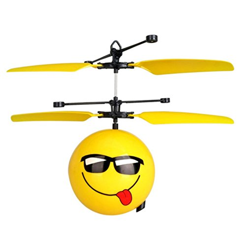 Price comparison product image Mchoice Infrared Sensor Hand Induced Flight Emoji Flying Helicopter Balls RC Drone Toys (A)
