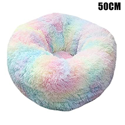 Nicknocks Soft Pet Bed Pet Plush Donut Cuddler Cats Bed Warm Soft Thickened Heightened Dog Puppy Mat Cushion Pet Dog Cat Calming Round Bed