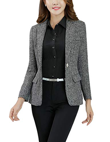 MFrannie Womens Cotton & Linen Tweed Blazer One Button Office Work Jacket Black - Blazer Linen Women