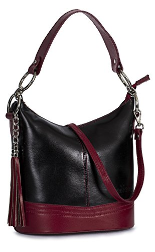 Bucket Shape Red Medium Liatalia Handle Womens Trim Handbag Italian Black Nikki Top Shoulder Satchel Leather q8W1ORZ1Sc