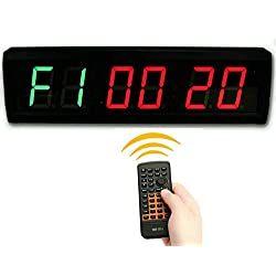 SUOLOUNG 1.5'' High 6 Digits LED Countdown /up Clock for TABATA , GYM BOXING, EMOM, MMA Alternate Interval Timer, 12/24-Hr Real Time Clock, Stopwatch by Remote Control