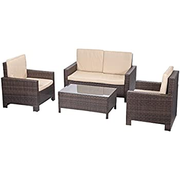 Outdoor Patio Sofa Set Sectional Furniture PE Wicker Rattan Deck Couch 4 PCS