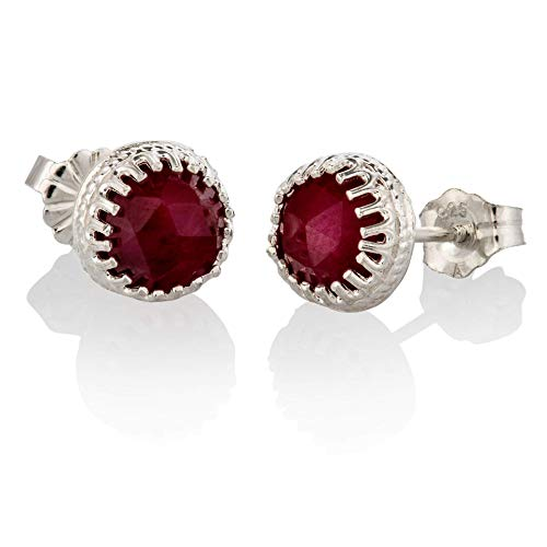 (Sterling Silver Ruby Earrings July birthstone Natural 6mm Studs Red Ruby)