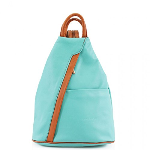 leather Mint geniune Bag Soft PELLE Shoulder Leather Grab VERA Adjustable Rucksack handles Green straps Backpack zCwqqgO