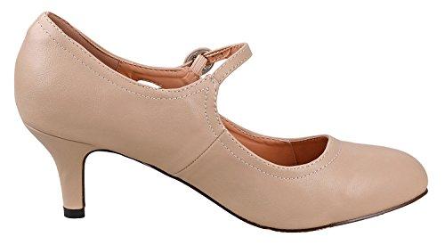 Chase & Chloe Womens Rund Tå Mid Hæl Mary Jane Pumper-sko Pumper Naken Pu  ...