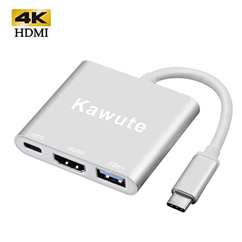 Type-C to Hdmi Usb 3.1 4K Multiport Adapter for Samsung Galaxy S8/S8 Plus , 2016 MacBook Pro, Chromebook Pixel and More USB C Devices by Kawute (Silver)