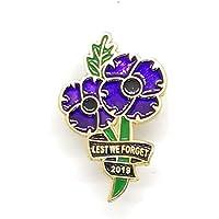 Rare 2019 World War Animal Peace Purple Poppy Brooch Enamel Pin Badge