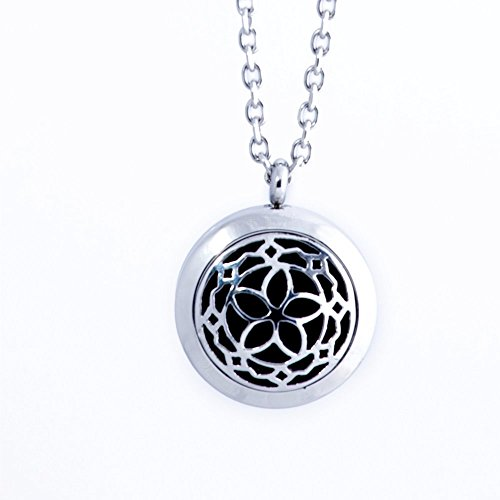 Aromatherapy Essential Oil Diffuser Locket Necklace ~ Wear Your Aroma Oils ~ Hypo-Allergenic Surgical Grade Stainless Steel Pendant Jewelry Set | 3 Refill Pads Included | For Men, Women, Boys & Girls (Silver Lines Many)