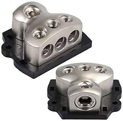 1x 0 Gauge in VonSom 3 Way Power Distribution Block 3X 4 Gauge Out Amp Power Distribution Ground Distributor Connecting Block for Car Amplifier Audio Splitter 2 Pack