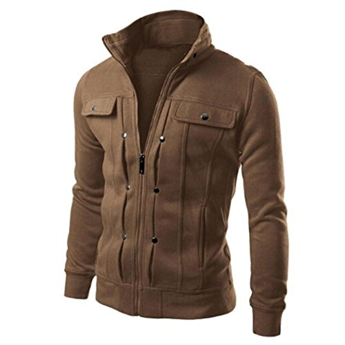 Forthery Men's Stand Collar Active Lightweight Slim Zipper Bomber Jacket (M, Coffee) - Supreme Beauty Queen Costume