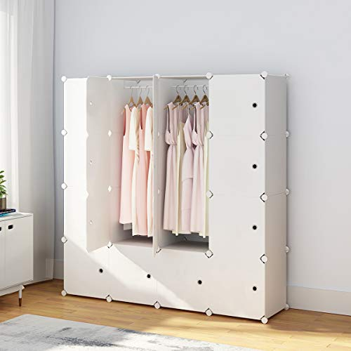 KOUSI Portable Clothes Closet Wardrobe Bedroom Armoire Dresser Cube Storage Organizer, Capacious & Customizable, White, 10 Cubes & 2 Hanging Clothes
