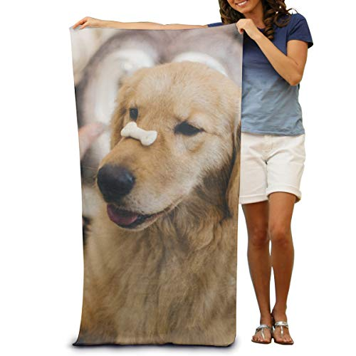Dongi Adult Golden Retriever with Cookie Bone On Nose Customize Microfiber Beach Towel -Ultra Soft Super Water Absorbent Multi-Purpose Beach Throw Towel Oversized 32