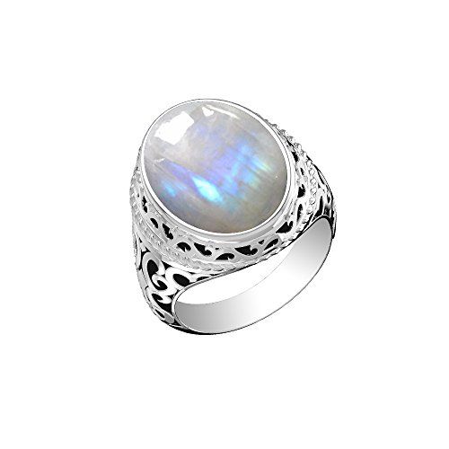 12.50ctw, Genuine Rainbow Moonstone Oval & .925 Silver Plated Solitaire Ring -