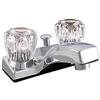 LDR 012 4105CP Lavatory Faucet, Dual Acrylic Handle Faucet with Pop Up, AB1953-Lifetime Plastic, Chrome