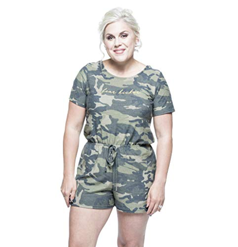Kick Fear in the Face Women's Fear Kicker Short-Sleeve Romper (Medium) Olive Camo