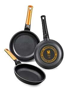 BRA Efficient Orange - Set de 3 sartenes, 18-22-26 cm, aluminio fundido con antiadherente Teflon Platinum Plus