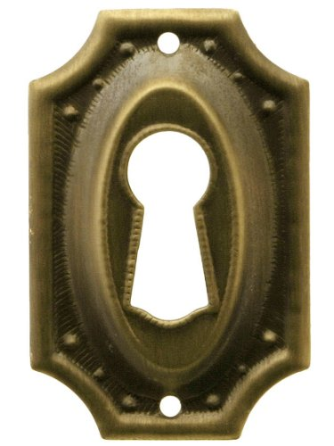 Stamped Brass Colonial Revival Keyhole Cover In Antique-By-Hand Finish -