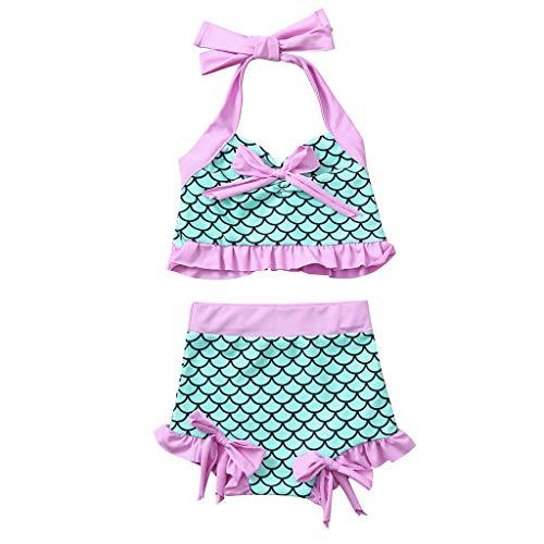 Tomppy Toddler Kids Baby Girls Mermaid Swimsuit Bowknot Ruffle Swimwear Halter Crop Tops + Bottom Beach Bathing Suits (4-5 Years, Green) -