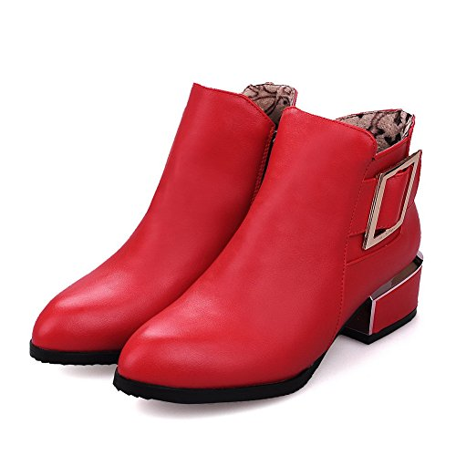 AmoonyFashion Womens Soft Material Zipper Pointed Closed Toe Low-Heels Ankle-high Boots Red yz5rxQ1