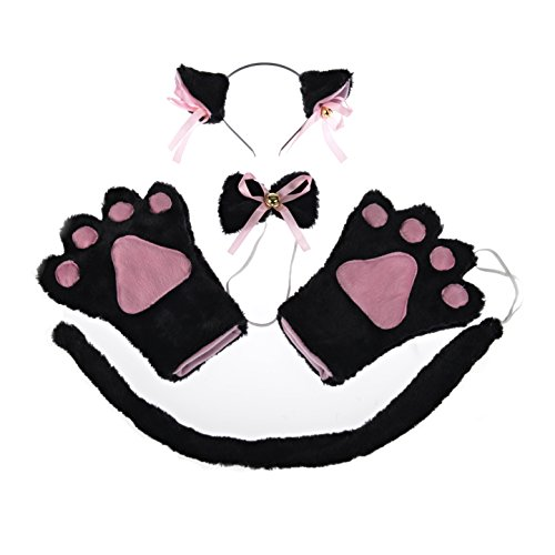 Anime Cat Costumes (I-MART Cat Cosplay Anime Costume Gothic Set Tail Ears Collar Paws Gloves (Black))