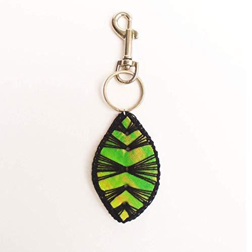 Leather Tropical Leaf Key Chain
