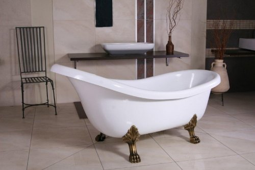 Independiente de baño de lujo Nouveau Sicilia Blanco / Oro Viejo 1740mm - cuartos de baño