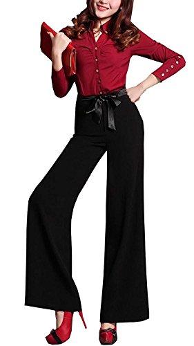 Nero Cute Inclusa Lunga Nahen Moda Di Vita Taille Cintura Dritti Pantaloni Baggy Chic Moda Estivi Accogliente Donna Pantaloni Sottile Pantaloni Baggy Stile Elastica Modern Di Stoffa Pantaloni Trousers 8gfZqpw7