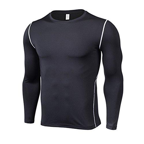 不純誇張する開拓者Zhuhaitf メンズ Round Neck Pro 性能 コンプレッション Tシャツ Sports Traning Base Layer Long Sleeve Top