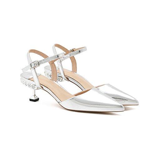 heeled scarpe diamond e le punta sandali piccoli ZHANGJIA golden a argento con dolci high 35 fBqtxZ