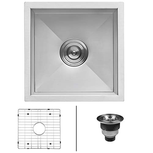 Ruvati 13 x 15 inch Undermount 16 Gauge Zero Raduis Bar Prep Kitchen Sink Stainless Steel Single Bowl - ()