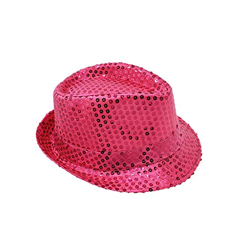 Banded Fedora HAT for Kids Trilby Gangster Panama Classic Vintage Short Brim Style (Pink Sequined)]()