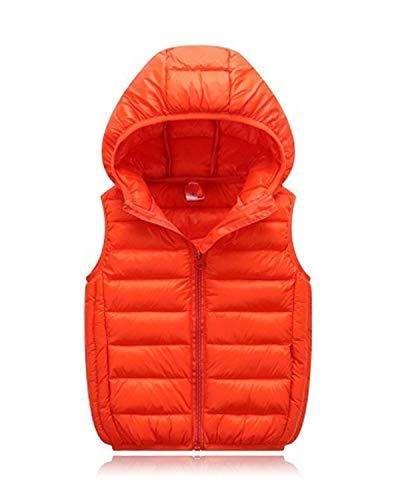 LANBAOSI Boys Girls Winter Hooded Puffer Vest Kids Lightweight Sleeveless Jacket Orange