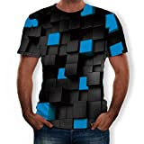 Forthery Men 3D Printed Casual Summer Short Sleeve Slim Fit T-Shirt Tees (US Size L = Tag XL, Blue)