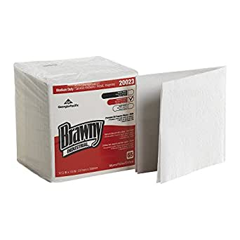 """Brawny Industrial 20023 White 1/4 Fold Medium Duty All Purpose DRC 1/4 Fold Wiper, 12.5"""" Length x 13"""" Width (Case of 18 Poly Packs, 65 Wipers per Pack)"""