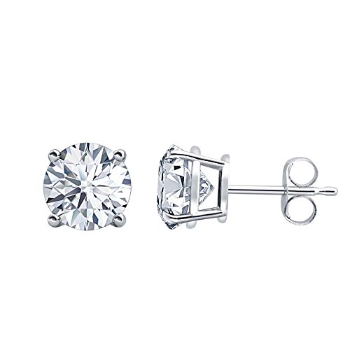 (D/VVS1 Round Cut Diamond Fancy Party Wear Solitaire Stud Earrings 14K White Gold Over .925 Sterling Silver For Women's & Girls (3MM TO)