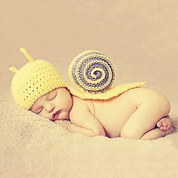 HaimoBurg Ropa de Bebe Recien Nacido Conjunros de Bebes Tejido a Mano la Estatua para Fotografía Atrezzo Treje 0-6 Meses (Caracol)